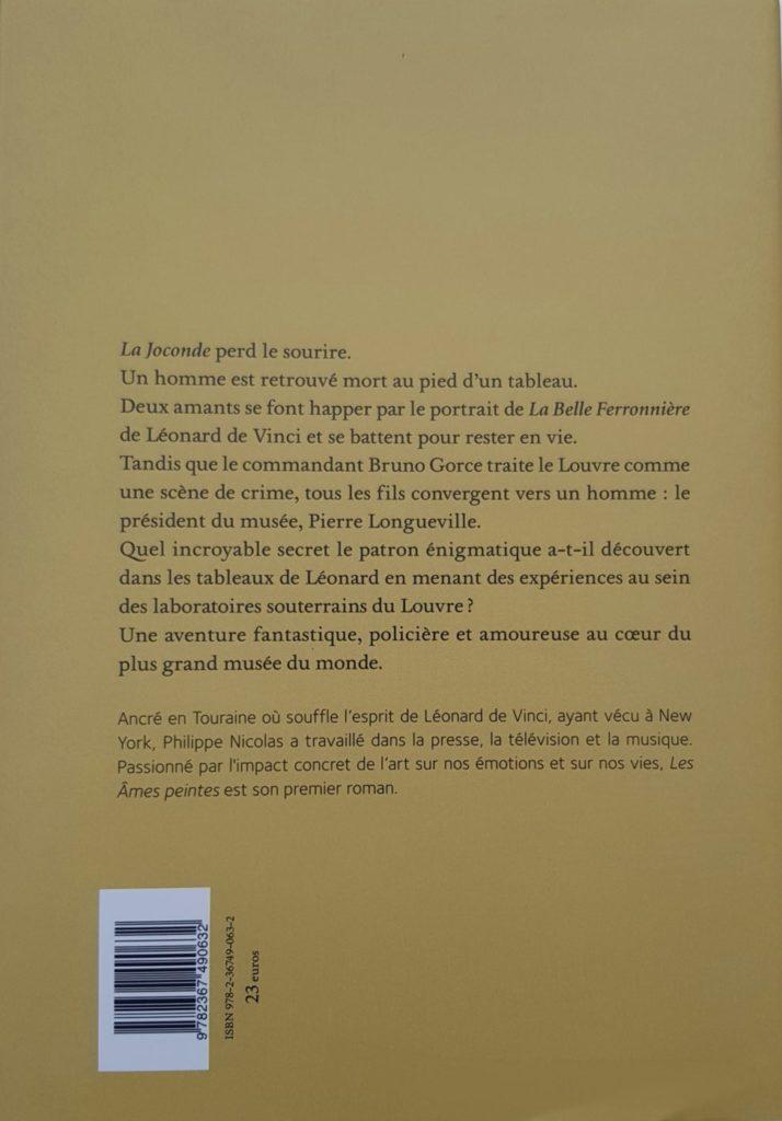 Dos du livre Les Âmes peintes de Philippe Nicolas