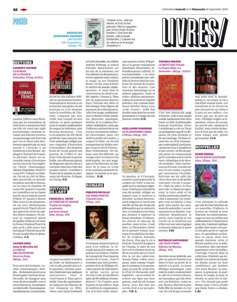 Article paru dans le journal Libération sur le roman Les Âmes peintes de Philippe Nicolas