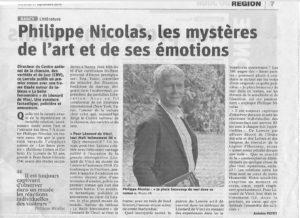 Article du journal L'Est Républicain sur Les Âmes peintes de Philippe Nicolas