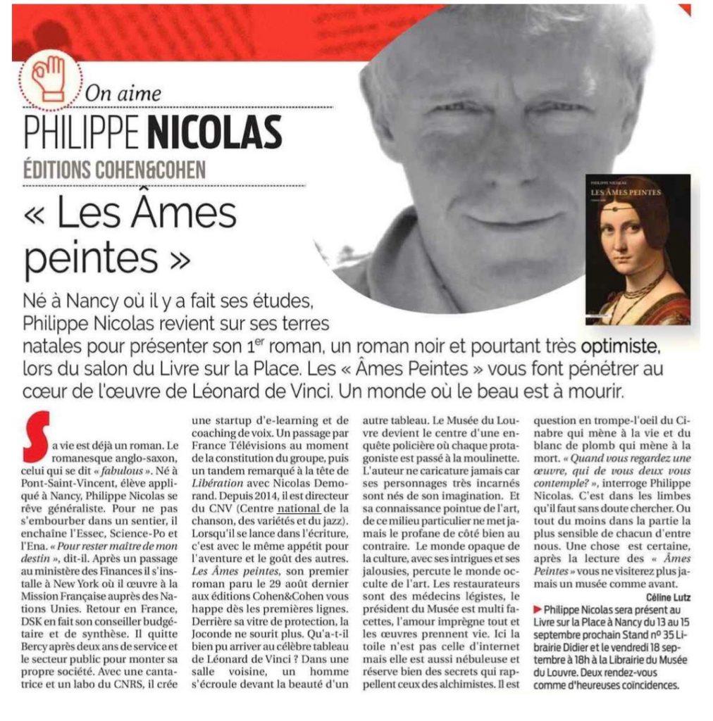 article sur Les Âmes peintes dans le journal a Semaine de Nancy
