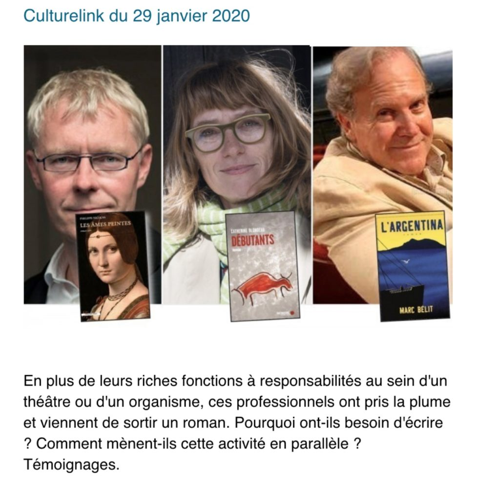 Photo de 3 romanciers, Philippe Nicolas, Catherine Blondeau et Marc Belit